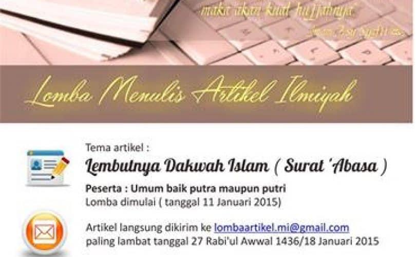 Lomba Menulis Artikel Ilmiah Ma'had Al 'Ilmi Yogyakarta 1436 H