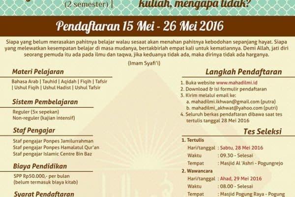 Penerimaan Santri Baru Ma'had Al 'Ilmi Yogyakarta Angkatan XIII 1437/1438